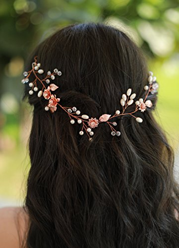Missgrace Bridal Flower and Leaf Rose Gold Crystal Hair Vine Wedding Vintage Headpiece Women Leaf Headband Bohemian Rose Gold Headpiece Bridal and Wedding Hair accessories Festival Party Headpiece