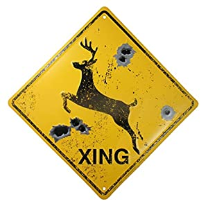 Yellow and black warning sign with deer