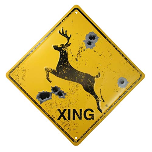 DEER CROSSING SIGN/BULLET HOLES/Rustic Hunting Cabin Lodge Street Road Decor new