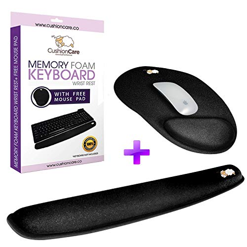 Keyboard Wrist Rest Pad - Full Mouse Pad Included for Set - Quality Memory Foam Cushion - Ergonomic Support - New Improved Shape - Prevent Carpal Tunnel and RSI When Typing on Computer, Mac, Laptop