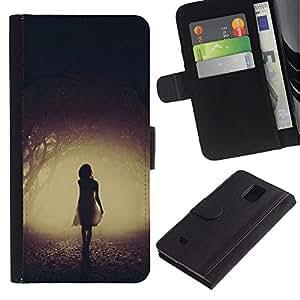 Billetera de Cuero Caso Titular de la tarjeta Carcasa Funda para Samsung Galaxy Note 4 SM-N910 / Mysterious Dark Girl Scary Halloween / STRONG