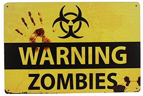 Sumik WARNING ZOMBIES, Metal Tin Sign, Vintage Art Poster Plaque Wall Bar Yard Home Wall Door Decor ()