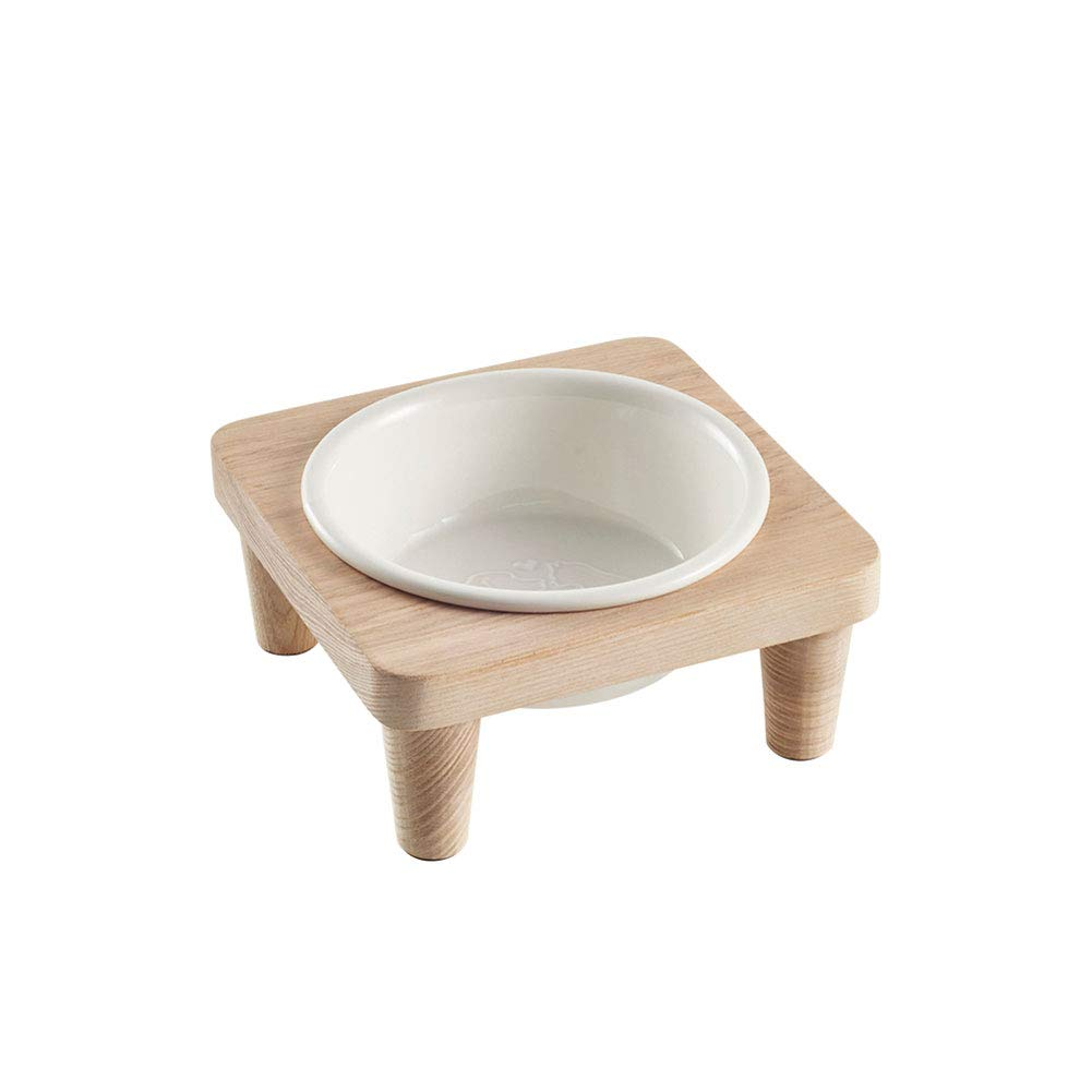 Dog Bowl,Pet Food Utensils High Quality Ash Boutique Solid Wood Frame Ceramic Single Bowl Detachable Assembly Cats and Dogs Healthy Drinking Water Feeding