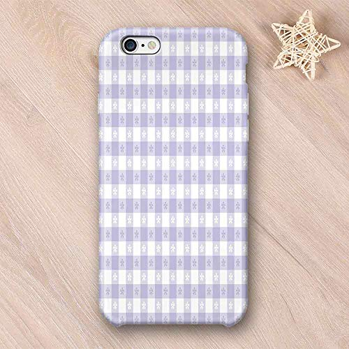 Lavender Printing Compatible with iPhone Case,Pastel Colored Classic Gingham Check Pattern with Delicate Small Blossoms Decorative Compatible with iPhone 6 Plus / 6s Plus,iPhone 6/6s