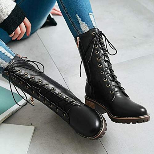 Grandi CITW In Dimensioni Stivali Donna Boot Up Single Stivali Black Bootslace Moto Da Autunno Metallo Stella aHqzaxw