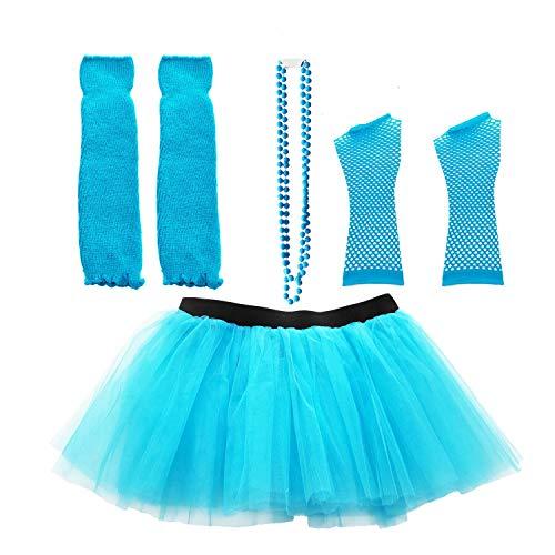Dreamdanceworks 80s Fancy Costume Set - TUTU & LEG WARMERS & FISHNET GLOVES & BEADS (Turquoise) ()