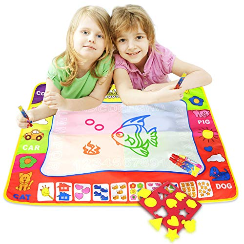 ALANGDUO Water Doodle Mat Large Educational Kids Water Drawing Mats Pad for Kis Toys Toddler Painting Board with 3 Water Pens and Molds, Baby Drawing Mats for Boys Girls