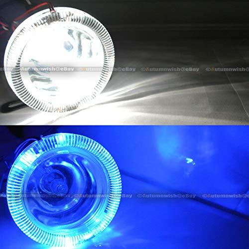 for K1500 3 Round Super White Blue Halo Bumper Driving Fog Light Lamp Kit