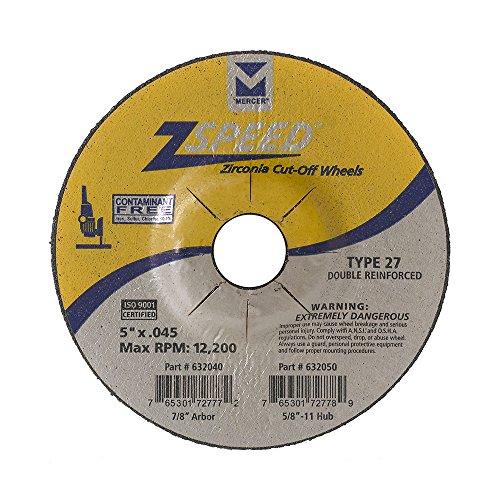 Mercer Industries 632040 Type 27 Zspeed Zirconia Cut-Off Wheel, Double Reinforced, Ferrous Metals & Stainless Steel, 5