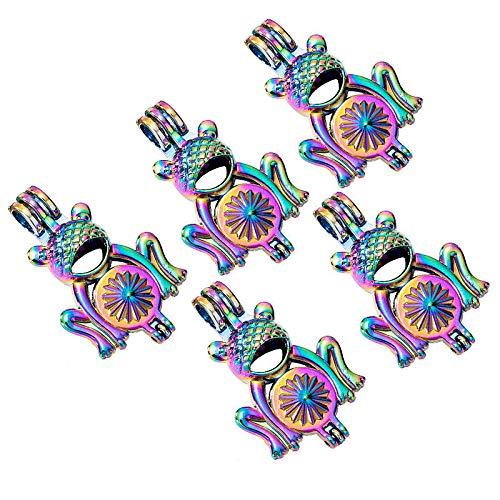 5X Multicolor Cartoon 3D Frog Pearl Cage Locket Pendant Fragrance Oil Diffuser