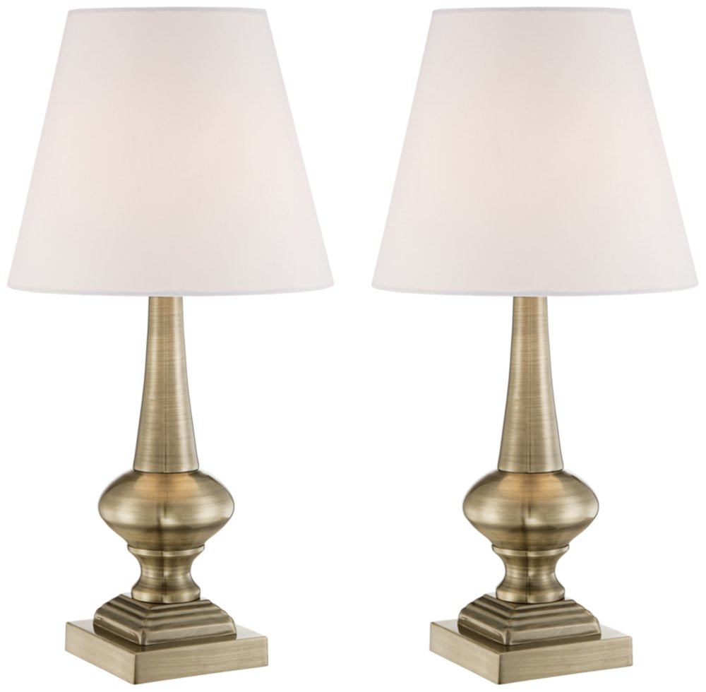 "Antique Accent Table Lamps 19"" High Set of 2 Touch On Off Antique Brass White Bell Shade for Bedroom Bedside Office - 360 Lighting - Set of 2 touch lamps: each is 19"" high overall. Shades are 5 1/2"" across the top x 9 1/2"" across the bottom x 8"" high. Includes 40 watt G9 base halogen bulbs. Maximum 40 watt bulbs. Touch lamps by 360 Lighting. Touch anywhere on the base to turn on or off. - lamps, bedroom-decor, bedroom - 510kegyb9BL -"