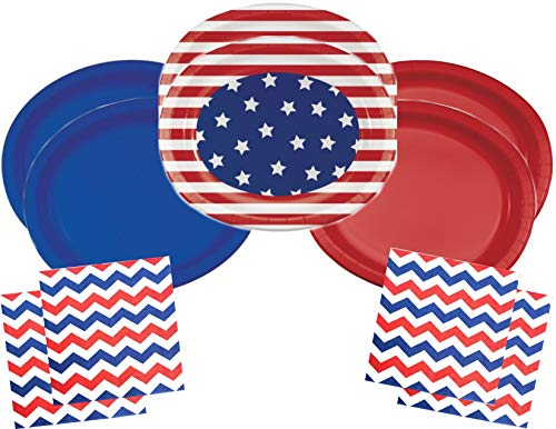 Patriotic Flag Red White and Blue Plates and Napkins Bundle for 20 Guests - Patriotic Patterns