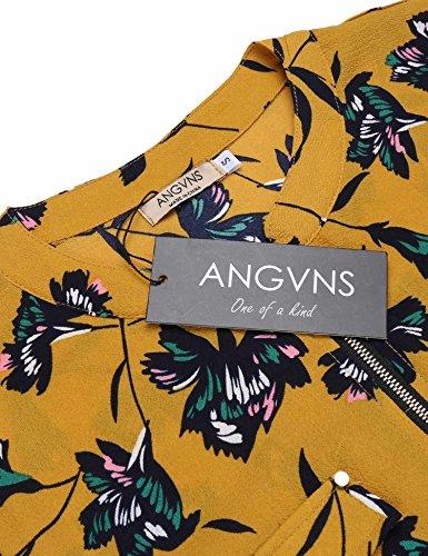 Blouse Chemisier Jaune Casual Mode Lache Manches ANGVNS Chemise Femme Shirt Longues wq4xzH0