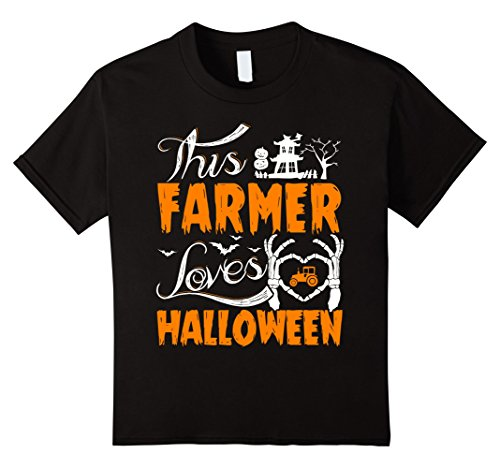 Kids This Farmer Loves Halloween T-shirt Proudly Farming 8 Black