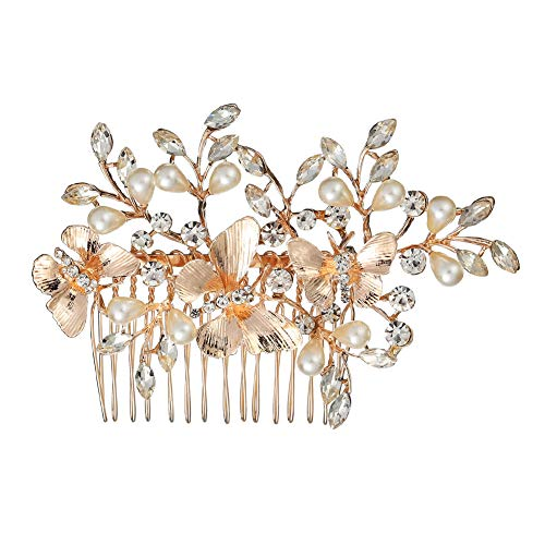 (Kercisbeauty Wedding Bridal Butterfly Champagne Hair Comb Crystal Headband for Brides Evening Party Women Headpiece)