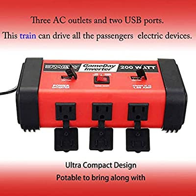 Supcool 200W Car Power Inverter DC 12V to 110V AC with 2 USB Car Charger Adapter: Car Electronics