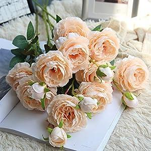 Hivot Wedding Bridal Bouquet,Artificial Fake Western Rose Flower Plant Peony Home Garden Decor Craft Multicolor 75