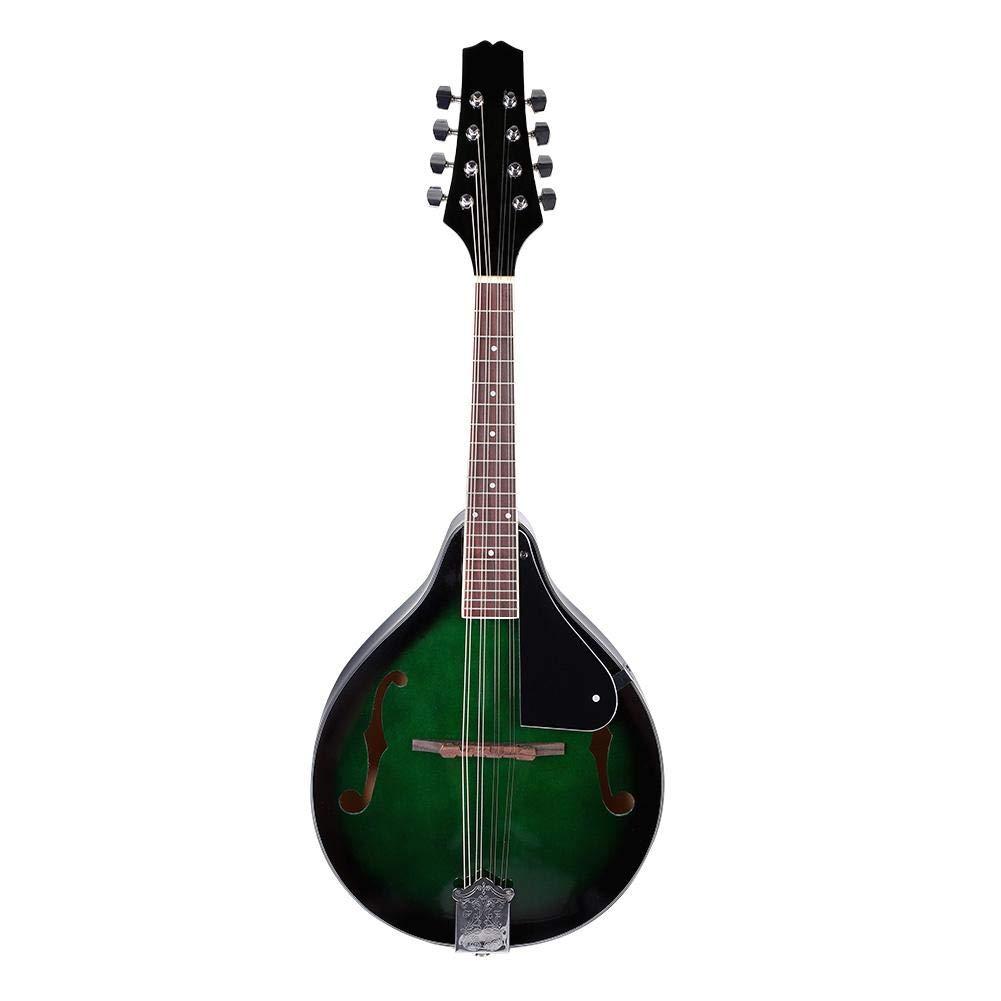 Mandolin, 22 Fret Wood 8-String Mandolin with Carry Storage Bag, Green Dilwe Dilwegkwv8c60s4