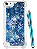 iPod Touch 6 Case,iPod Touch 5 Case Glitter,CAIYUNL Liquid Bling Sparkle Clear Cute TPU Kids Girls Protective Cover Shockproof for Apple iPod Touch 6th Generation/iPod Touch 5th (Blue Dolphin)