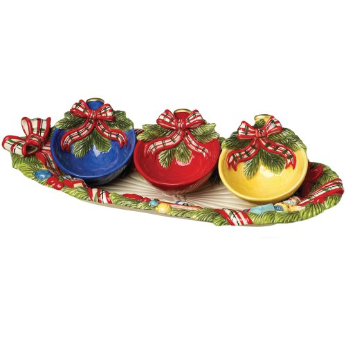 Christmas Pine Tray with Ornament Bowls/3