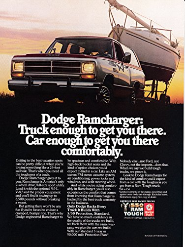 Dodge Ramcharger Truck (1985 Dodge Ramcharger 5.9 Liter V-8 Truck Pick Up -Original Magazine Ad-Ram Tough)