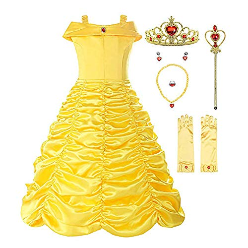 Little Girls Elsa Princess Dress Anna Costume, Snow Party Queen Halloween Belle (110CM(3-4T)-M, Yellow Belle with Accessories)