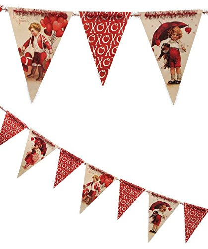 Bethany Lowe Vintage Style Valentine's Day Pennant Garland