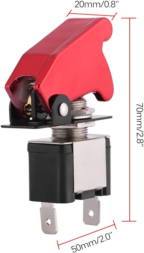 Interrupteur /à bascule avec couvercle de s/écurit/é rouge 12V 20A lumi/ère LED rouge SPST interrupteur dallumage /à bascule commande marche//arr/êt