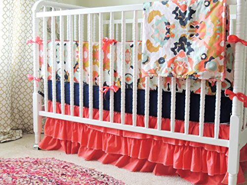 Custom Crib Bedding, Aqua and Coral Baby Bedding, Coral Jubillee, Coral Ruffle Skirt, Navy Crib Sheet, Jubilee Baby