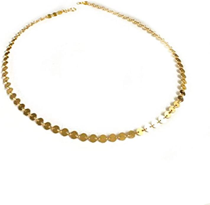 Gold Filled Disc Necklace Coin Tattoo Choker Bohemian Choker Gold Choker Dainty Sequin Chain Sterling Silver Coin Choker Boho Jewelry