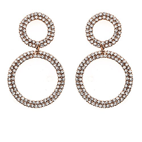 14K Gold, Rose Gold, or Rhodium Plated Double Circle Link Dangle Earrings with White Crystals (Link Plated Circle)