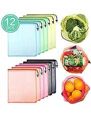12 Pcs Bolsas para Frutas Ecológicas para Supermercado,CoWalkers Bolsas de productos reutilizables,Mantiene frescos los vegetales,Hecho de See Through Mesh Polyester