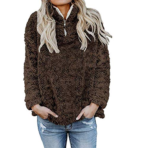 Womens Sweatshirt,Long Sleeve Faux Fleece Pullover Hoodies Coat Outwear Tops