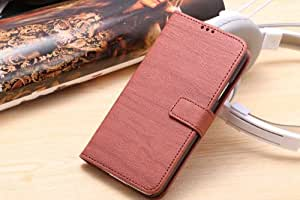 HTECH Samsung galaxy S5 wood grain leather case smart folio case with ultra-thin kickstand (wood grain leather case brown)