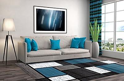 Contemporary Modern Boxes Area Rug Blue/Gray