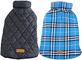 Kuoser Cozy Waterproof Windproof Reversible British Style Plaid Dog Vest Winter Coat Warm Dog Apparel for Cold Weather...