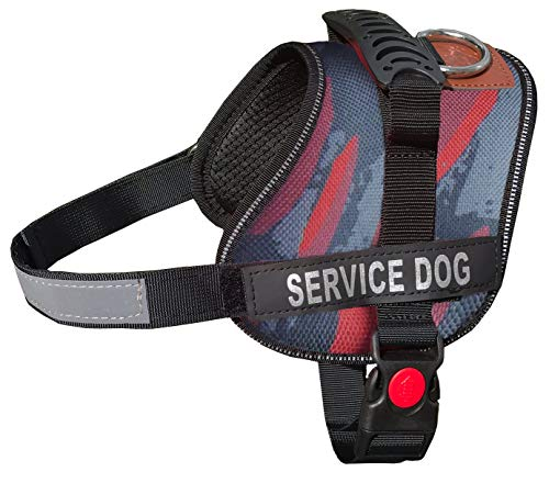 (ALBCORP Service Dog Vest Harness - Reflective - Woven Nylon, Adjustable Service Animal Jacket, with 2 Hook and Loop Removable Patches, Small, Red Camo)