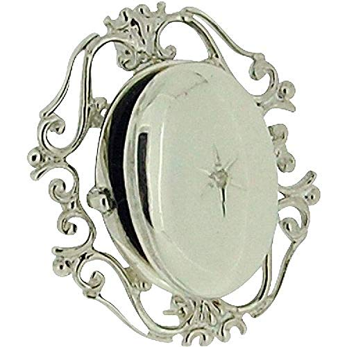 The Olivia Collection TOC Sterling Silver Clear Crystal Set Filigree Oval Locket Brooch ()