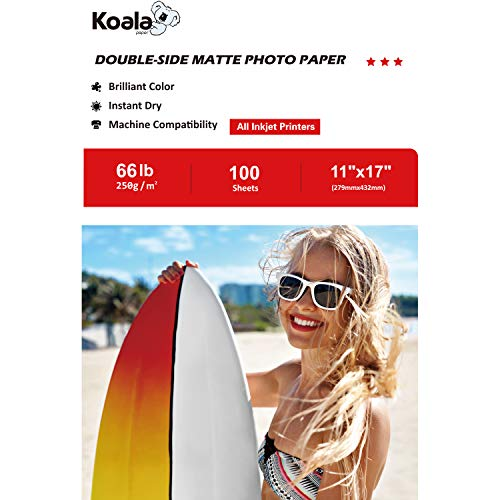 Koala Photo Paper 11x17 Inches Heavyweight Double Side Matte 100 Sheets 250gsm Compatible with All Inkjet Printer ()