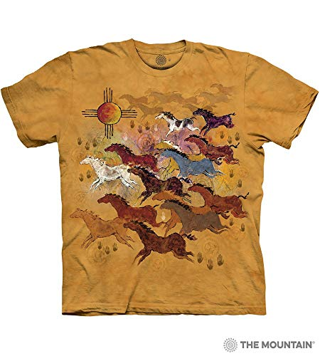 Indian Horse T-shirt - The Mountain Horses & Sun Adult T-Shirt, Yellow, XL