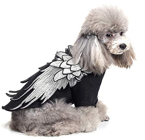 L Shangyuan Pet Halloween Wings Costume Knitted Cotton Black Multiple Sizes Durable Easy to Clean Christmas Funny Costumes