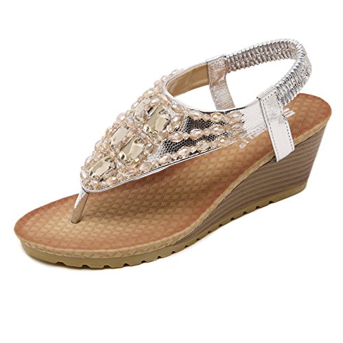 Ruiren Women Bohemian Beeded Wedge Sandals,Summer Beach Flip-Flops Shoes for Ladies Silver