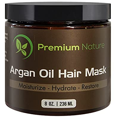 Argan Oil Hair Mask Deep Conditioner - 8 oz Leave In Conditioner Sulfate Free - Damaged & Dry Hair Repair & Growth All Natural - Hydrates Softens Strengthens Premium Nature