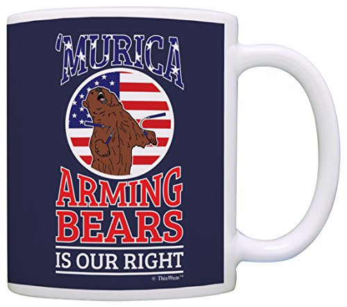 Fourth of July Gifts Murica Arming Bears is Our Right 2nd Amendment Gift Coffee Mug Tea Cup Blue