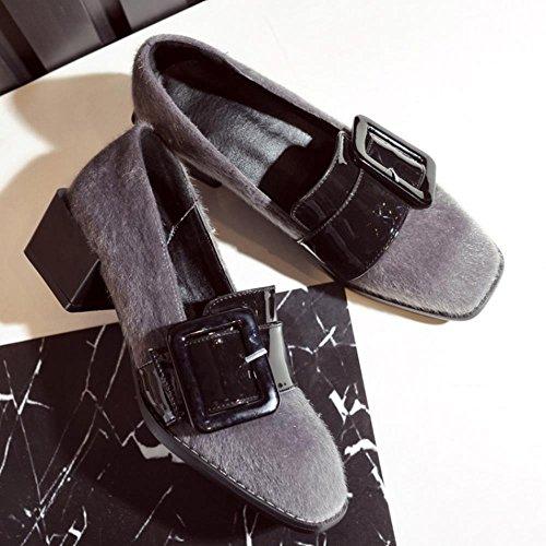COOLCEPT Damen Mode-Event Buckle Belt Blockabsatz Pumps Brogues Flocking Schuhe Grau