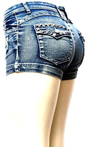 Women's Juniors Classic Perfect Fit Mid-Rise Blue Denim Jeans Shorts (Blue Acid 1747SH, 7) by JEANS FOR LOVE (Image #4)