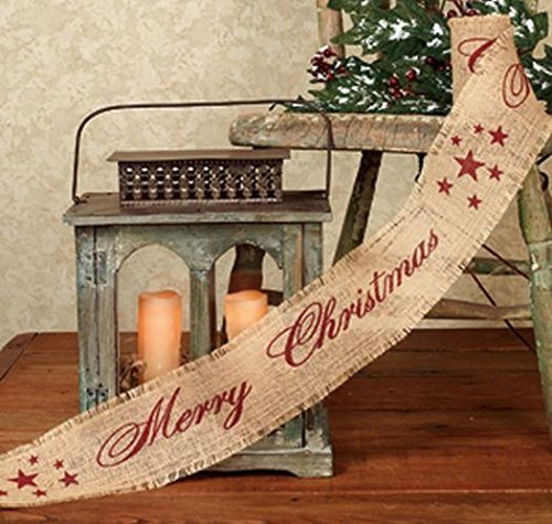 Vintage Merry Christmas Star Burlap Ribbon - 10-ft (12 Pack Burgundy Print 4-in) by The Country House Collection