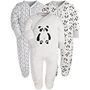Baby 3-Pack Footed Pajamas Boys Girls Long Sleeve 100% Cotton Button Front Neutral and Side Snap Romper