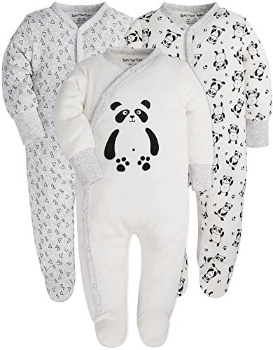 Baby 3-Pack Footed Pajamas Boys Girls Long Sleeve 100% Cotton Button Front Neutral and Side Snap Romper ()