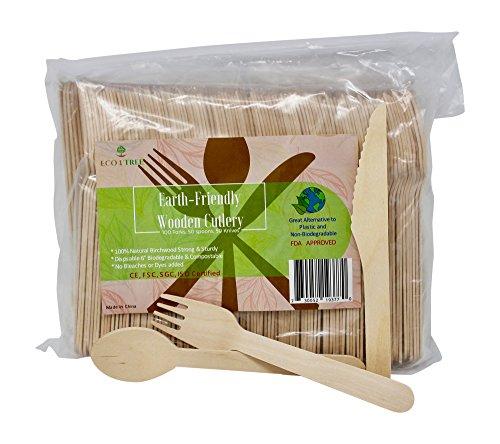 Disposable Biodegradable Wooden Cutlery Set - 200 pcs, 6 1⁄4